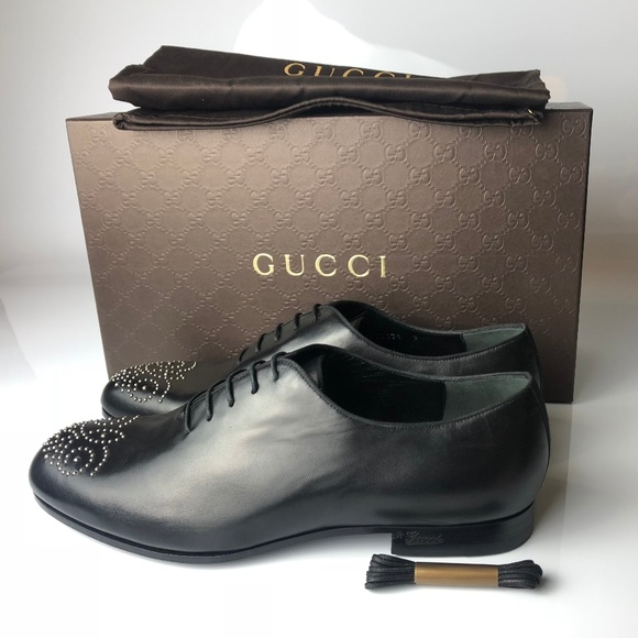 9f57d05ff86 Gucci Nappa Moorea Black Leather Lace Up Shoes G09
